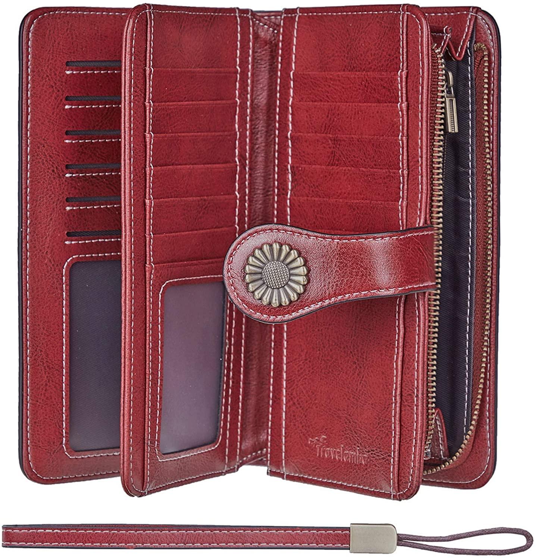 Travelambo Womens Large Capacity RFID Blocking Genuine Leather Wallets