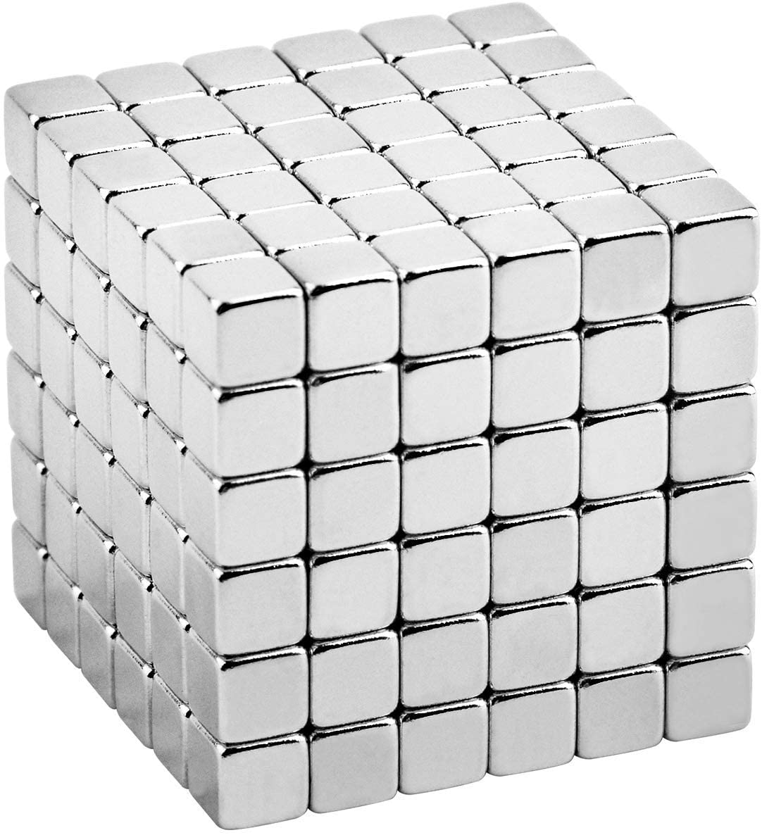 MENGDUO 216 pcs 5mm Magnetic Building Block Toy Set for Intellectual Development, and Decompression Toys for Adults. (Cube-Silver)
