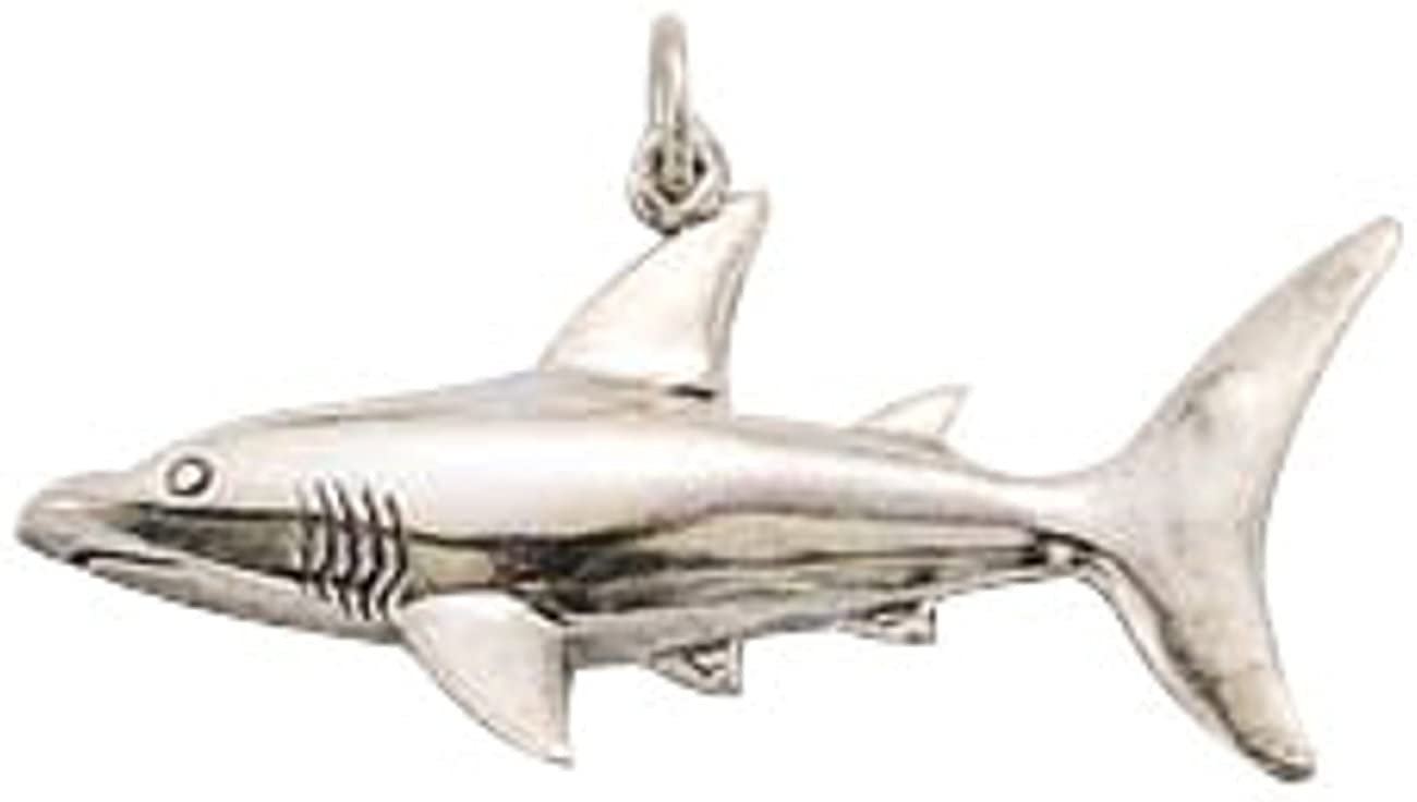 Sterling Silver Womens 1mm Box Chain Shark Pendant Necklace