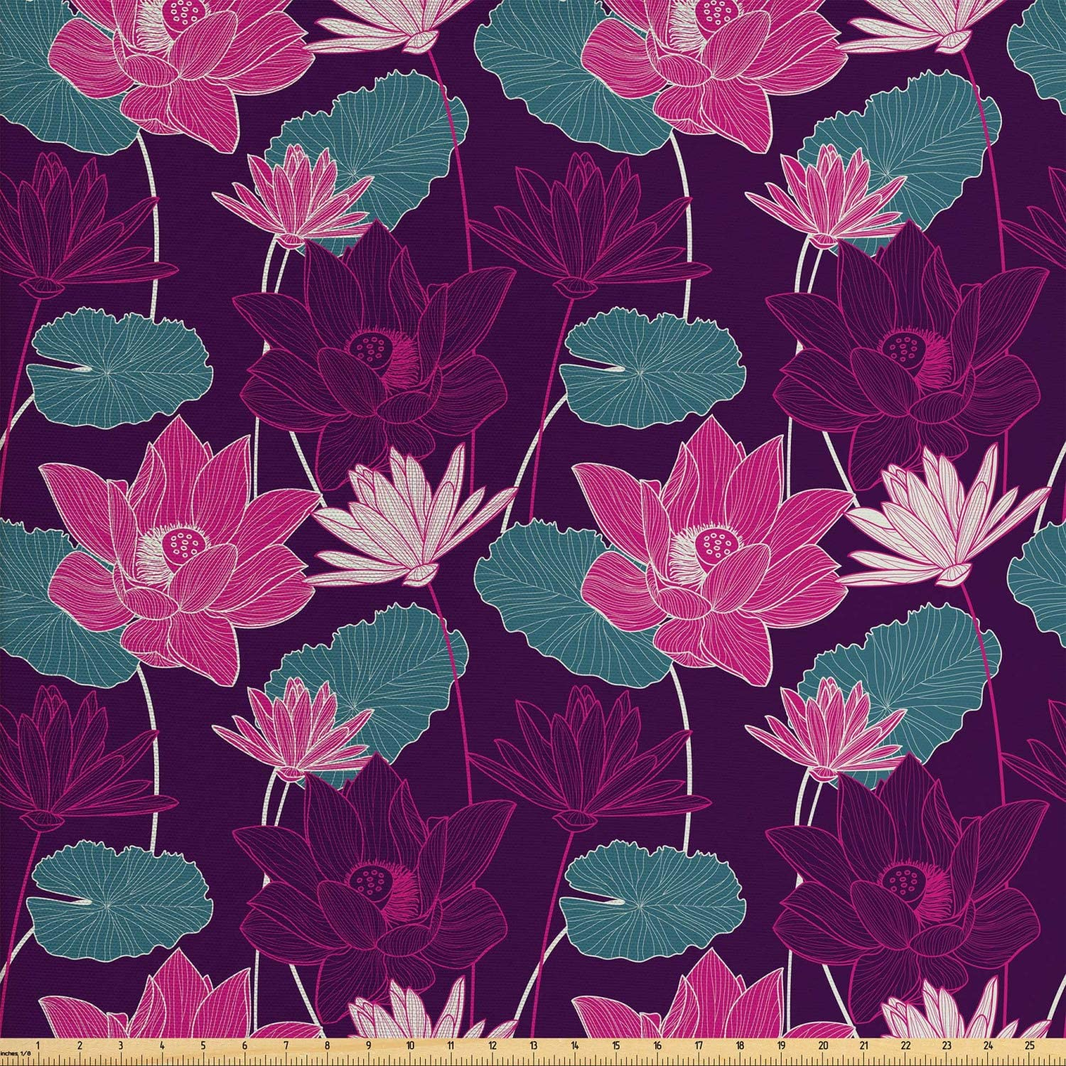 Lunarable Lotus Fabric by The Yard, Oriental Floral Elements Japanese Nature Elements Spring in Purple Shades, Decorative Fabric for Upholstery and Home Accents, Dark Purple Multicolor