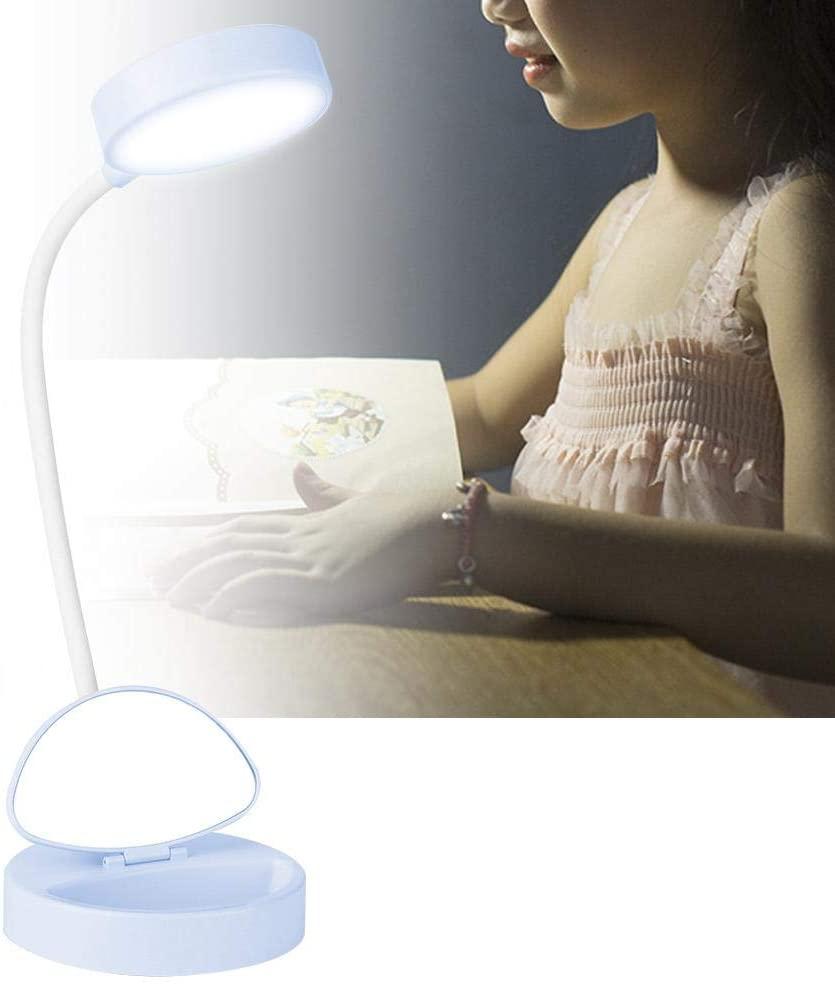 Mumusuki LED Light Household Mini Desktop Reading LED Light USB Rechargeable Table Night Light for Student (4.7x4.7x4.5in)(Blue)