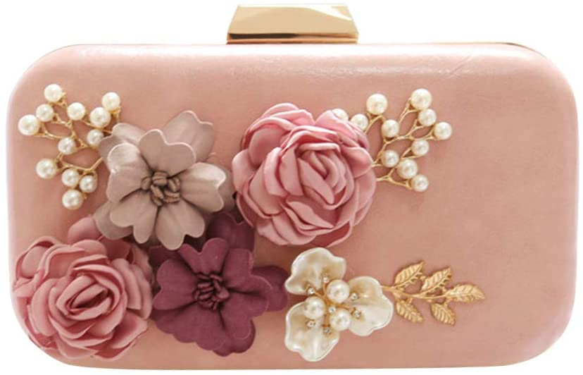 FENICAL Womens Clutches Bags Flower Clutch Purse Crossbody Shoulder Handbags for Wedding Evening Party (Pink)