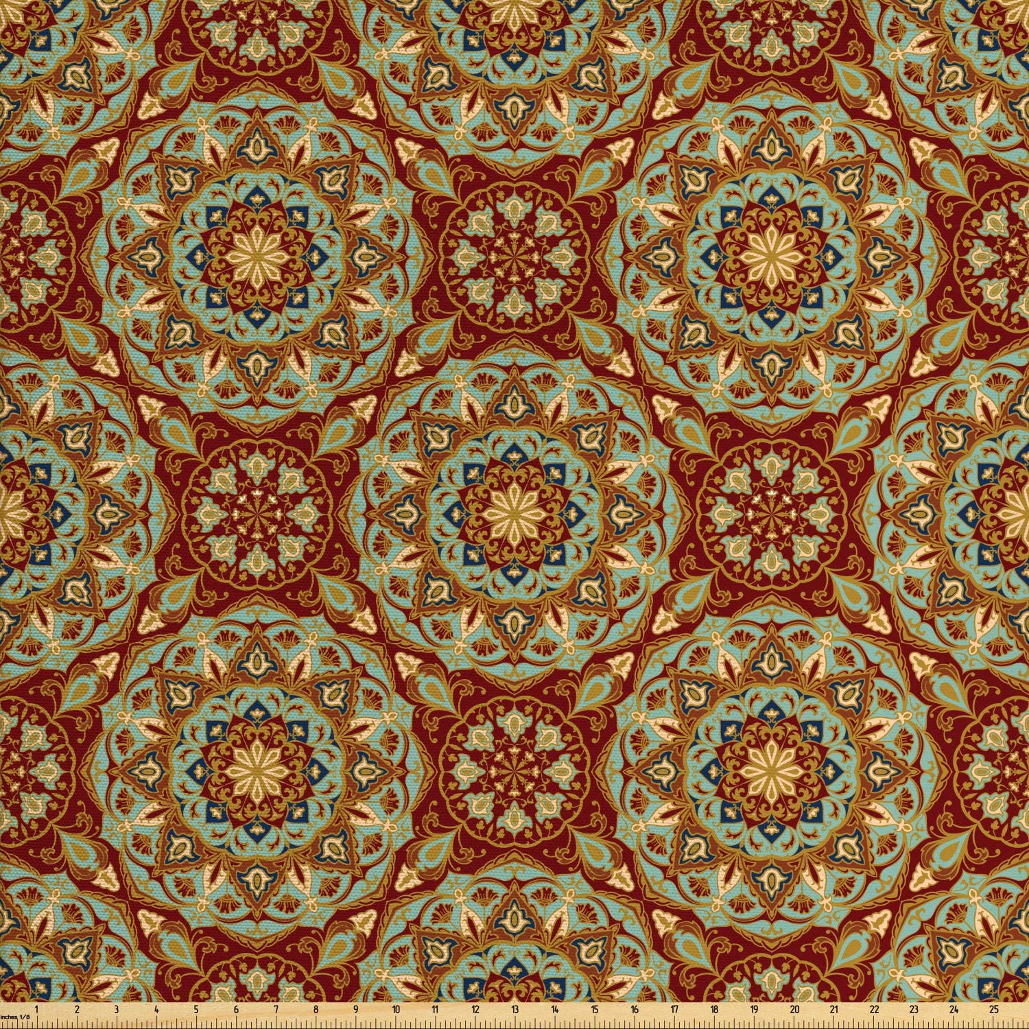 Ambesonne Mandala Fabric by The Yard, Abstract Flora Pattern Medieval Mosaic Tile Design, Decorative Fabric for Upholstery and Home Accents, Pale Coffee Pale Blue Ruby