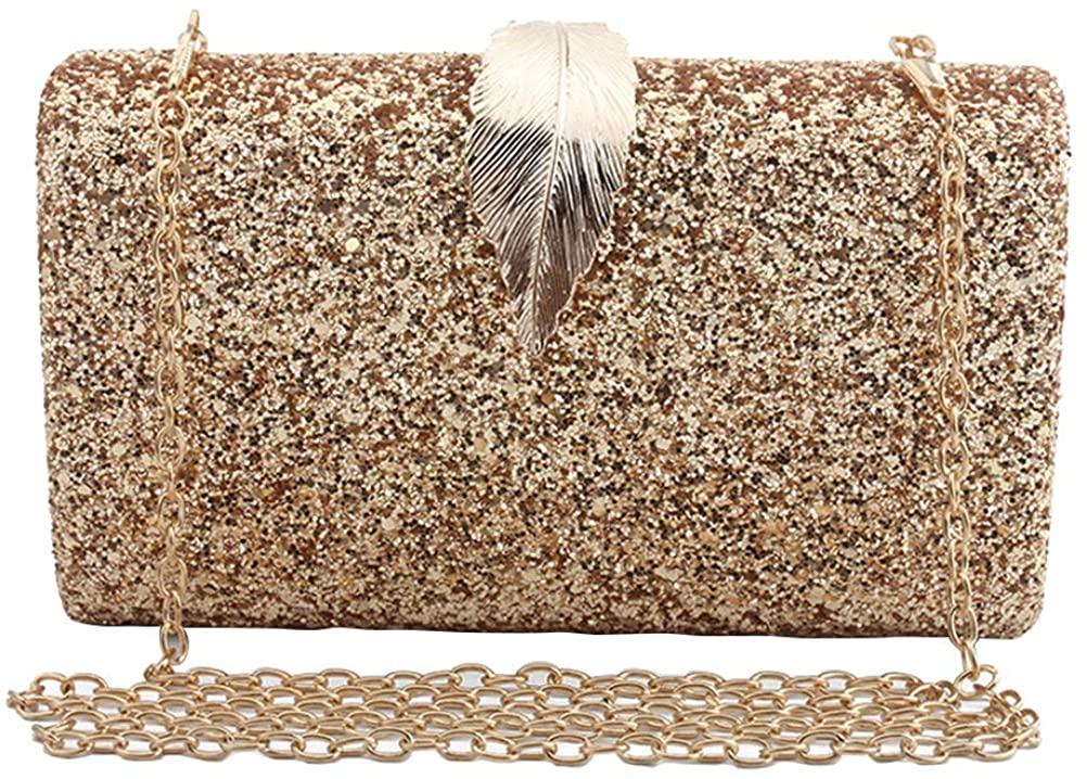 FENICAL Evening Bag Sequins Leaf Party Clutch Bag Purse Glitter Buckle Handbag for Women Ladies Golden