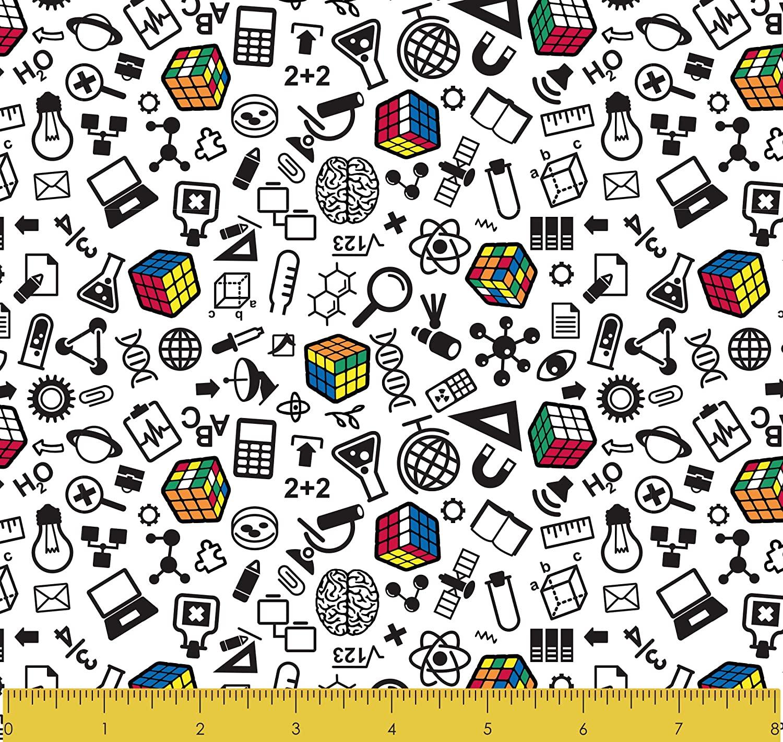 "Stitch & Sparkle Rubik's Math 100% Cotton 44"" Wide, Quilt Crafts Fabric, Cut by The Yard"