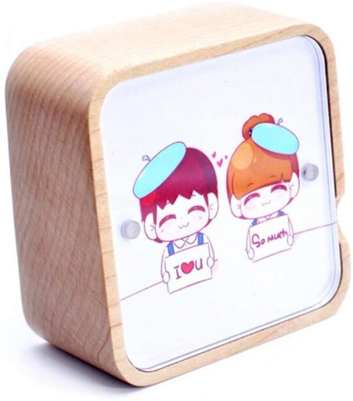 ZWSLY Personalized Music Box Custom Print Photo Wooden Music Box (Maple Frozen)
