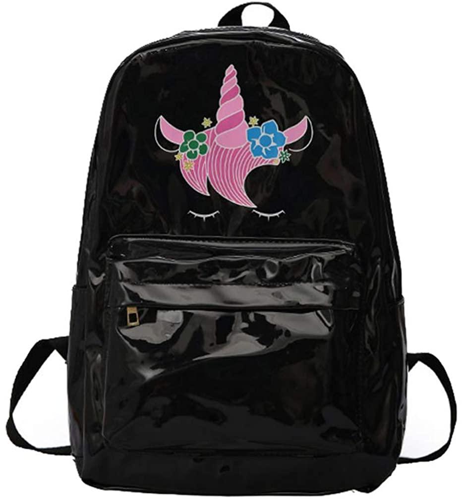 FENICAL Backpack Holographic Unicorn Schoolbag Book Bag Laser Travel Daypacks for Women Girls - Black