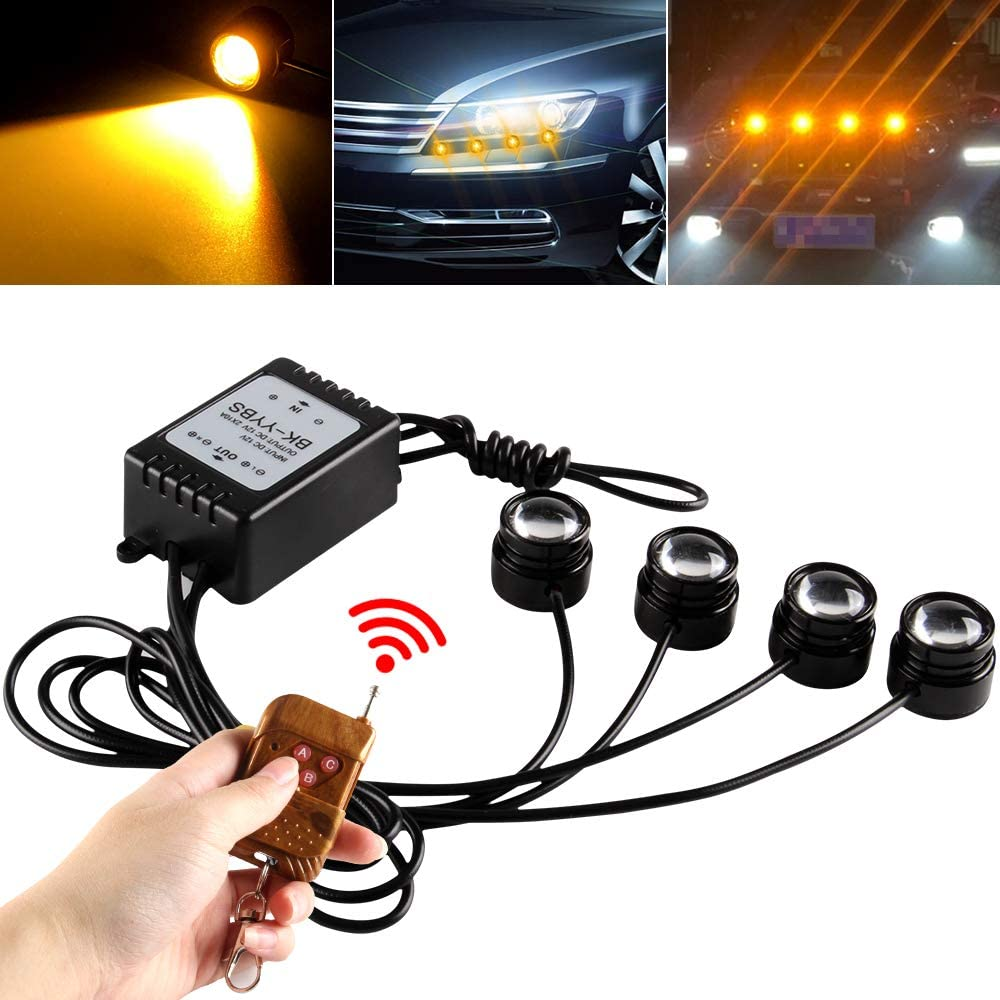 Teguangmei 4 in 1 Car Motorcycle LED Eagle Eye Emergency Strobe Warning Lights Car Truck Accessories DRL Wireless Remote Control Flash Lights 12V Amber