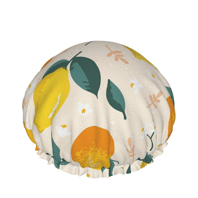 Summer Oranges Luxury Shower Cap For Women Waterproof, Reusable Shower Cap For Women Peva Lining Oversized Design For All Hair Lengths 10.6 Ins In Diameter