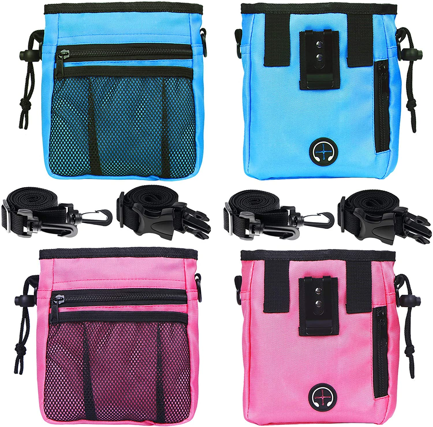 STMK 2 Pack Dog Treat Pouch, Dog Training Treat Pouch with Waist Shoulder Strap, 3 Ways to Wear, Easily Carries Dog Toys, Kibble, Treats, Ideal for Dog Walking, Dog Training, Puppy Training