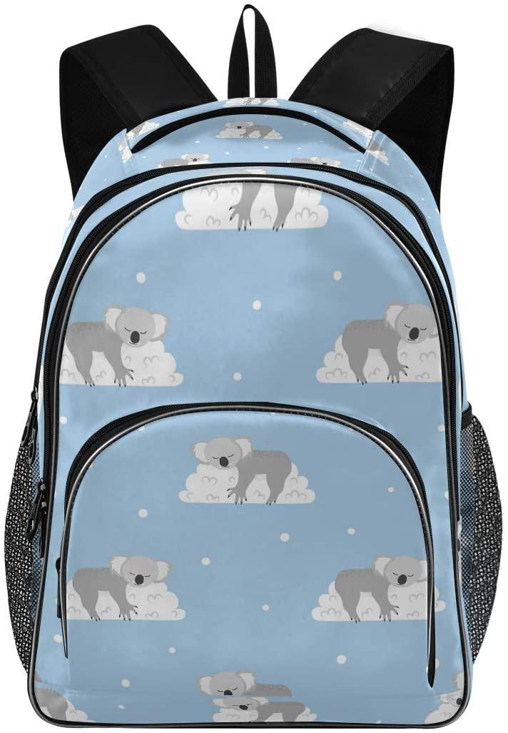 OREZI Schoolbag for Girls Boys,Sleeping Koala Bears On The Clouds Backpack Bookbags Travel Bag Casual Daypack Rucksack for Student Teenagers kids