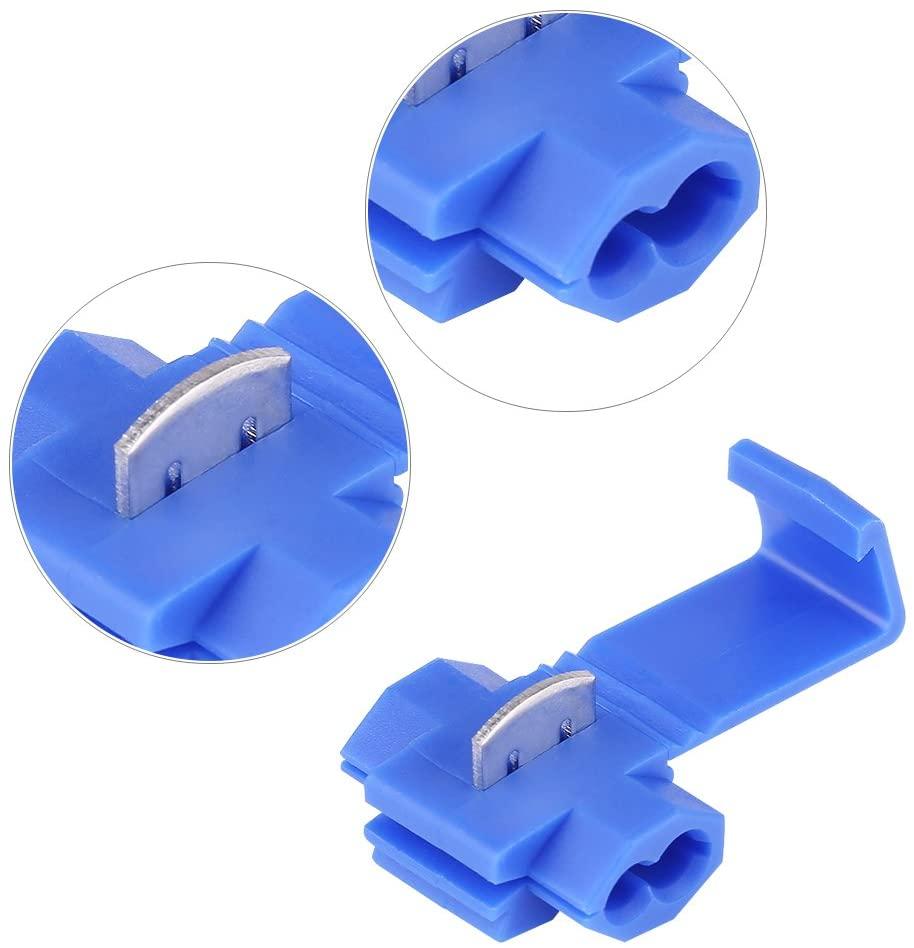 Qiilu Quick Wire Terminal, 50pcs Blue Lock Quick Wire Splice Clips Terminal Connectors 0.72-2.5mm2
