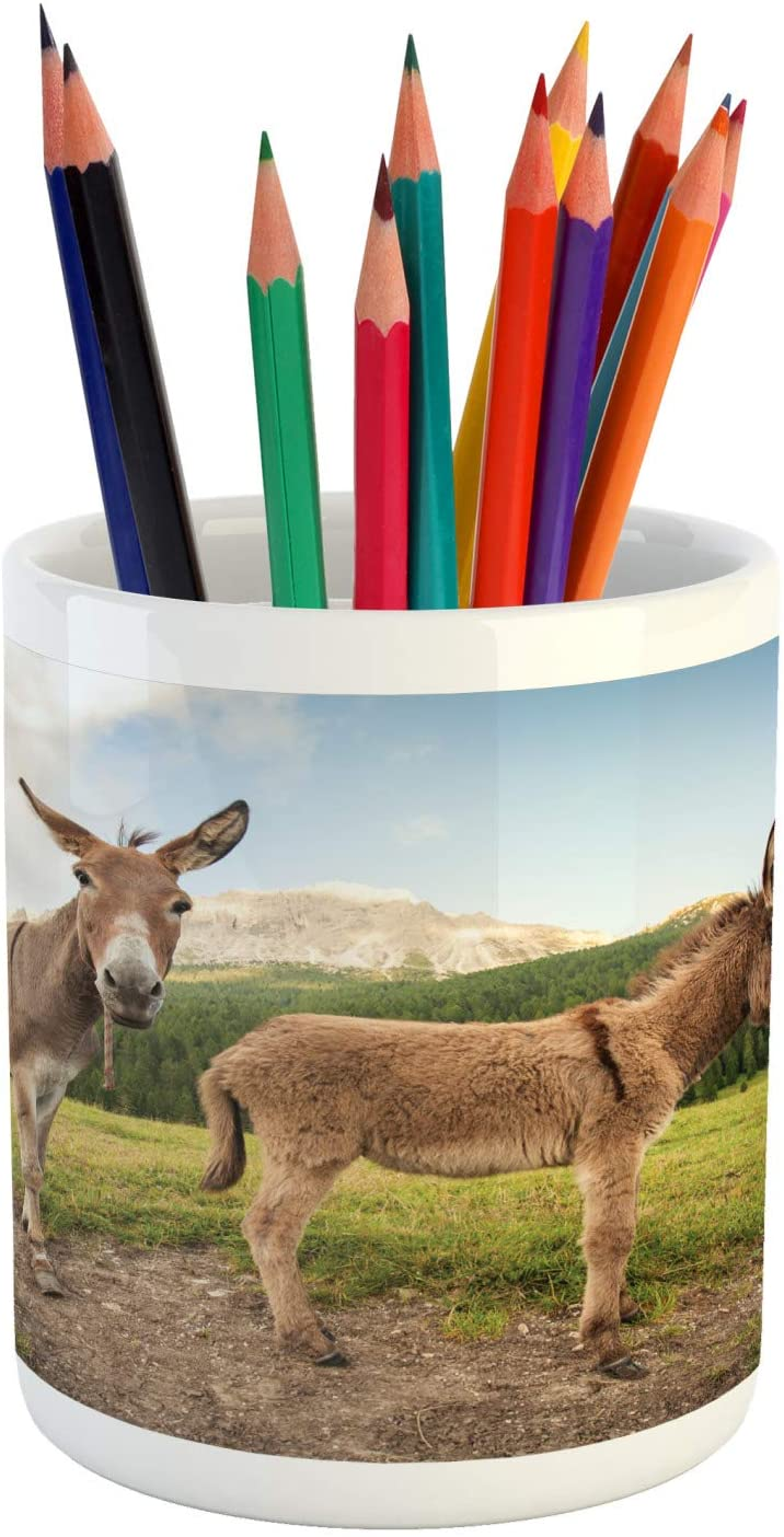 Ambesonne Donkey Pencil Pen Holder, 2 Donkeys Standing on The Meadow in Dolomites Italy Mediterranean Countryside, Printed Ceramic Pencil Pen Holder for Desk Office Accessory, Multicolor