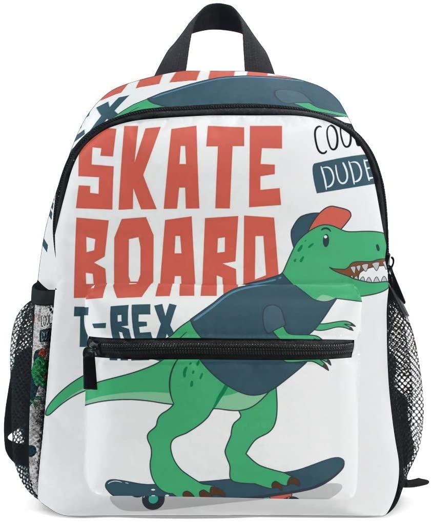 SKYDA Backpack for School Teenagers Girls Boys Bags Dinosaur On Skateboard Printing Travel Bag