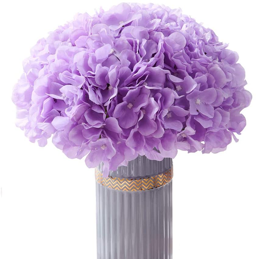 Atinart Hydrangea Silk Flowers Lilac Full Artificial Hydrangea Flowers Heads Pack of 10 for Home Wedding Party Shop Baby Shower Bridal Shower Bouquets Table Centerpiece Decor