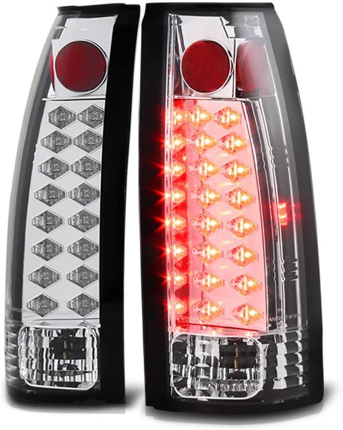 VIPMOTOZ Premium LED Tail Light Lamp For 1988-1999 Chevy GMC C/K 1500 2500 3500 Pickup - Metallic Chrome Housing, Driver and Passenger Side