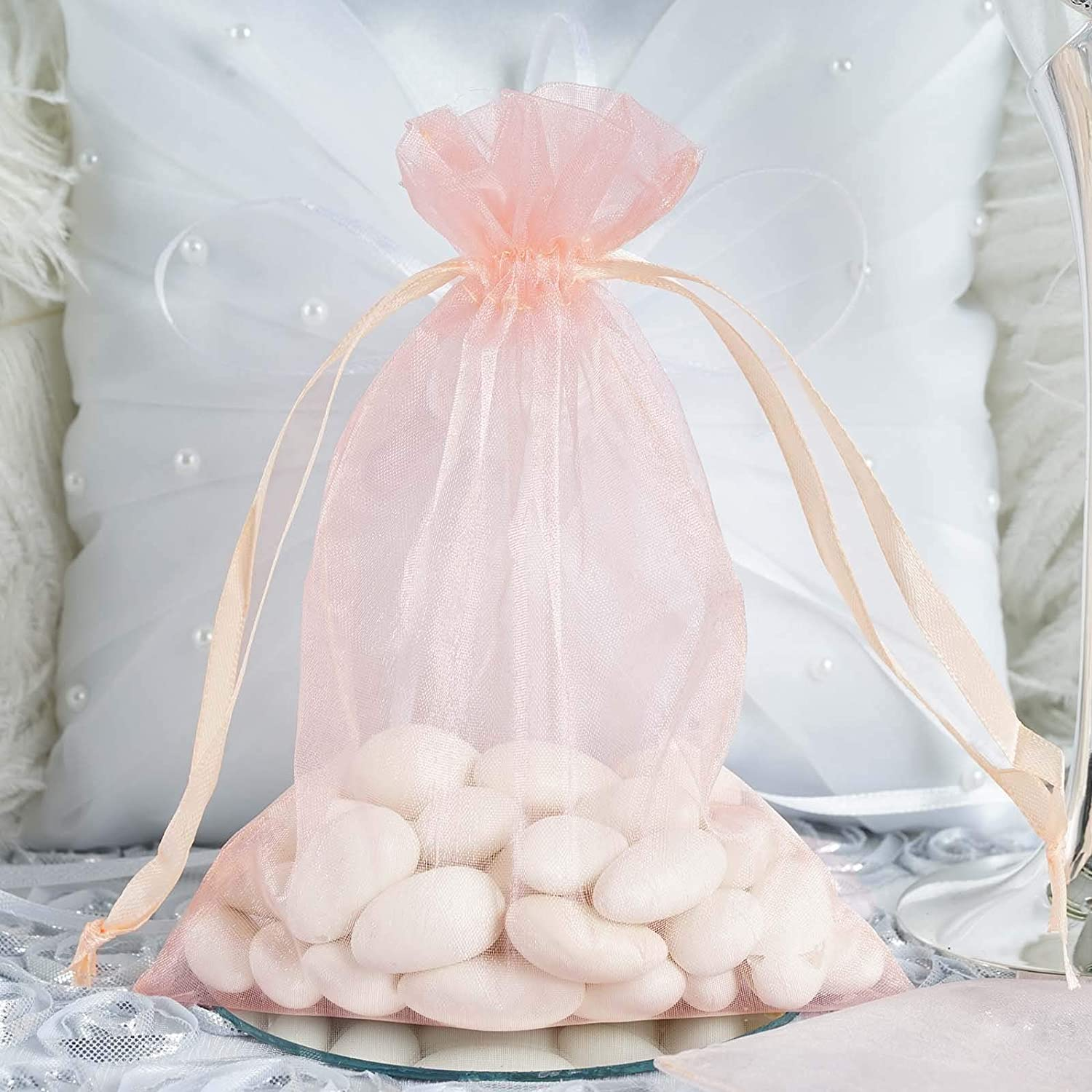 Efavormart 10PCS Blush Organza Gift Bag Drawstring Pouch Wedding Favors Bridal Shower Treat Jewelry Bags - 5
