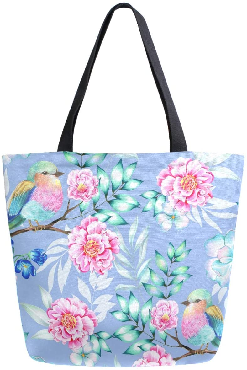 ZzWwR Exotic Tropical Flowers Birds Large Canvas Shoulder Tote Top Handle Bag for Gym Beach Travel Shopping