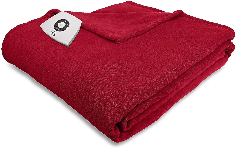 Serta | Super Soft Microplush Electric Warming Blanket with 5 Heat Settings, Auto-Shut Off & Overheat Protection, Full, Garnet