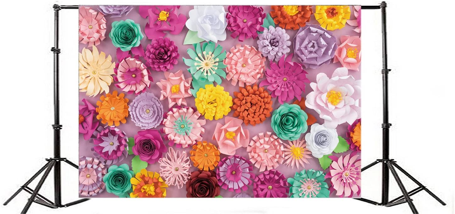 Yeele 9x6ft Art Handmade 3D Paper Flower Backdrops for Photography Vinyl Colourful Floral Petals Birthday Or Wedding Party Activity Decoration Banner Photo Background Photo Shoot Studio Props