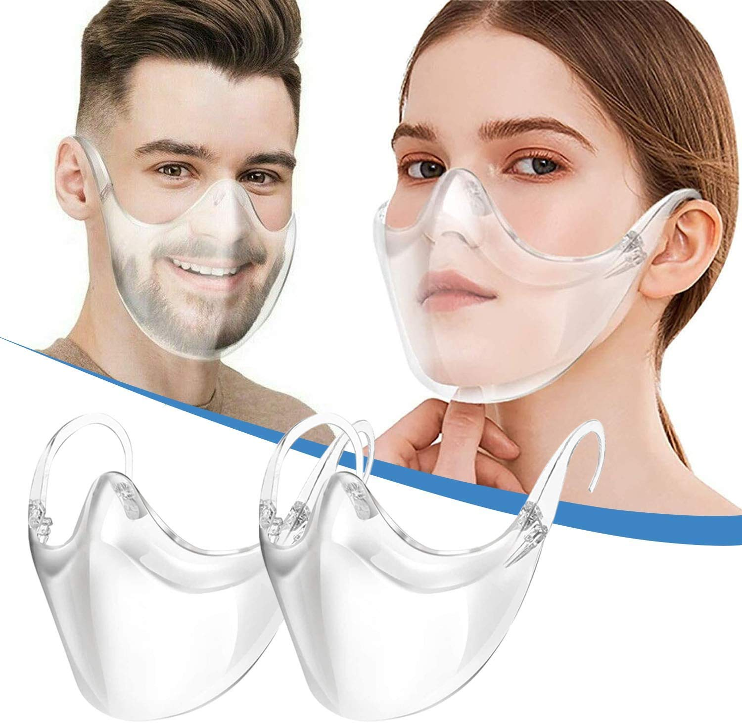 2 Pack Clarity Face_Shield for Adult,Andees Anti-Fog Clarity Face_Masks Reusable Clear Face_Mask Transparent, All Clear Face Bandanas Breathable Comfortable, Visible Expression for Women Men
