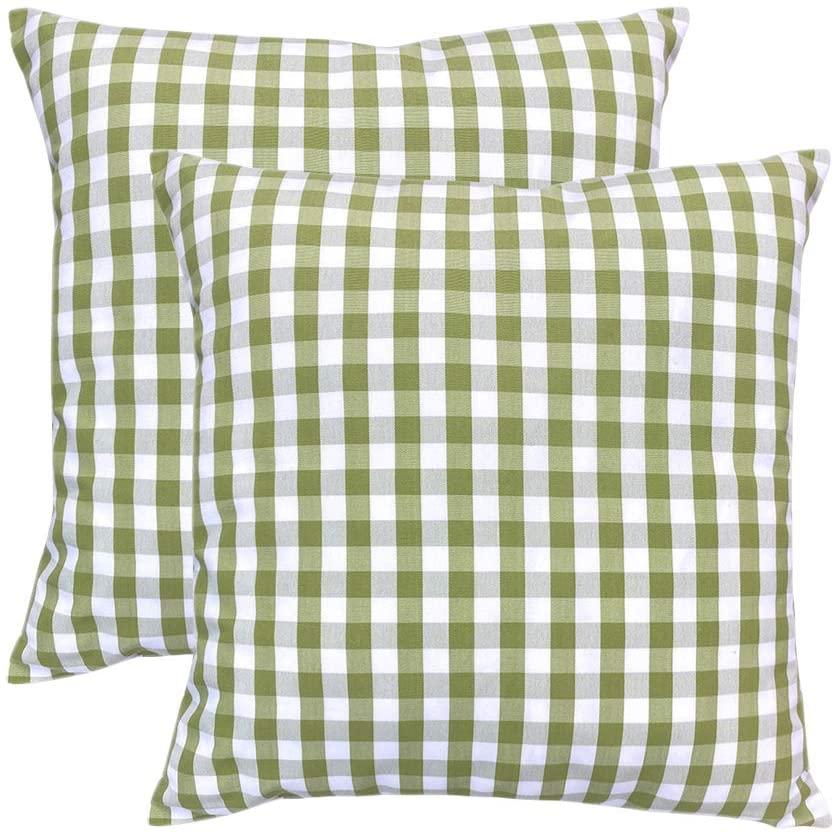 SVITFAMLI Set of 2 Buffalo Check Plaid Pillow Case Bright Green and White Geometric Stripes Throw Cushion Cover Home Decor Linen Pillowcase 20 x 20 Inch
