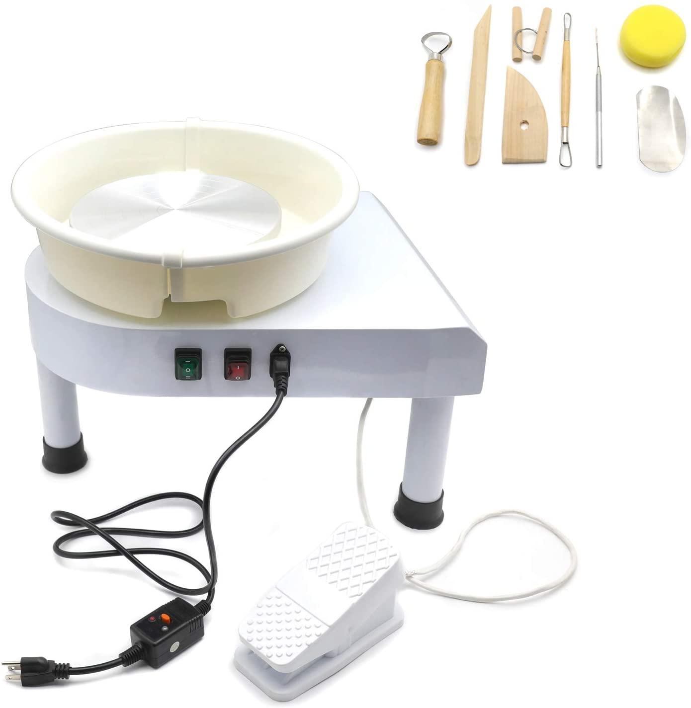 HTTMT- 25CM Triangle Electric Pottery Wheel Ceramic Machine Work Clay Art Craft DIY 110V 350W [P/N: ET-TOOL021-WHITE]