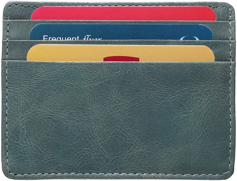 Genuine Leather Credit Card Holder - Thin ID Holder - Front Pocket Wallet - Slim Pouch - RFID Blocking