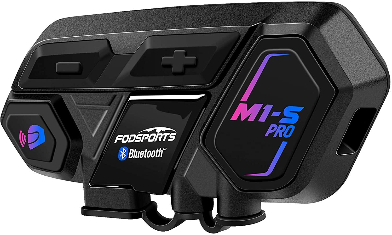 Motorcycle Bluetooth Intercom, Fodsports M1-S Pro 2000m 8 Riders Group Motorcycle Helmet Bluetooth Headset Communication Systems Kit (Handsfree/Siri Google Assistant/Waterproof/GPS/Hard&Mic/1Pack)