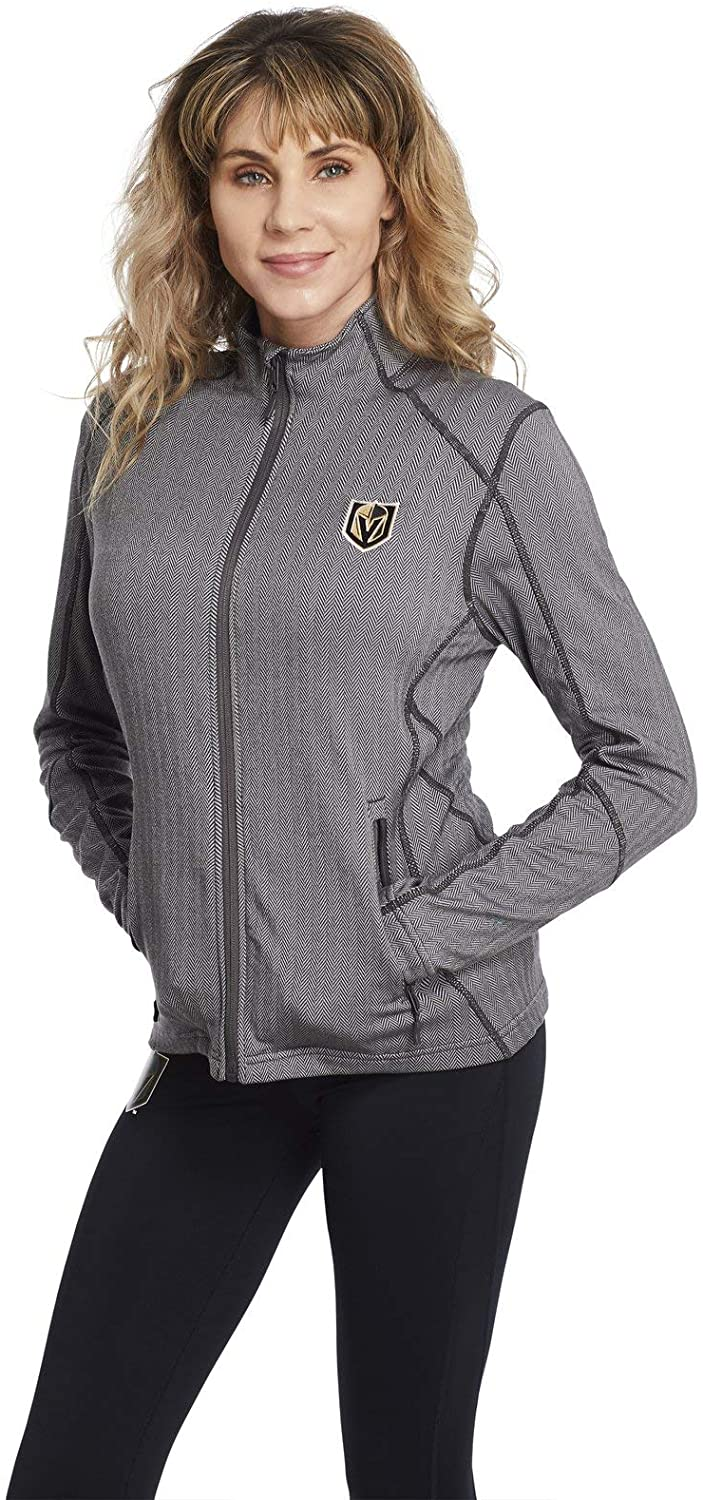 Women's Vegas Golden Knights Charcoal Grey Full Zip Jacket - Insignia | Five Hole Clothing | Officially Licensed Levelwear