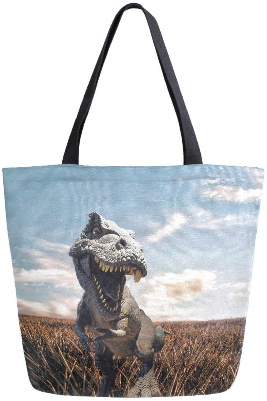 ZzWwR 3d Horrible Big Dinosaur Print Extra Large Canvas Beach Travel Reusable Grocery Shopping Tote Bag Foldable Handbag Portable Storage HandBags