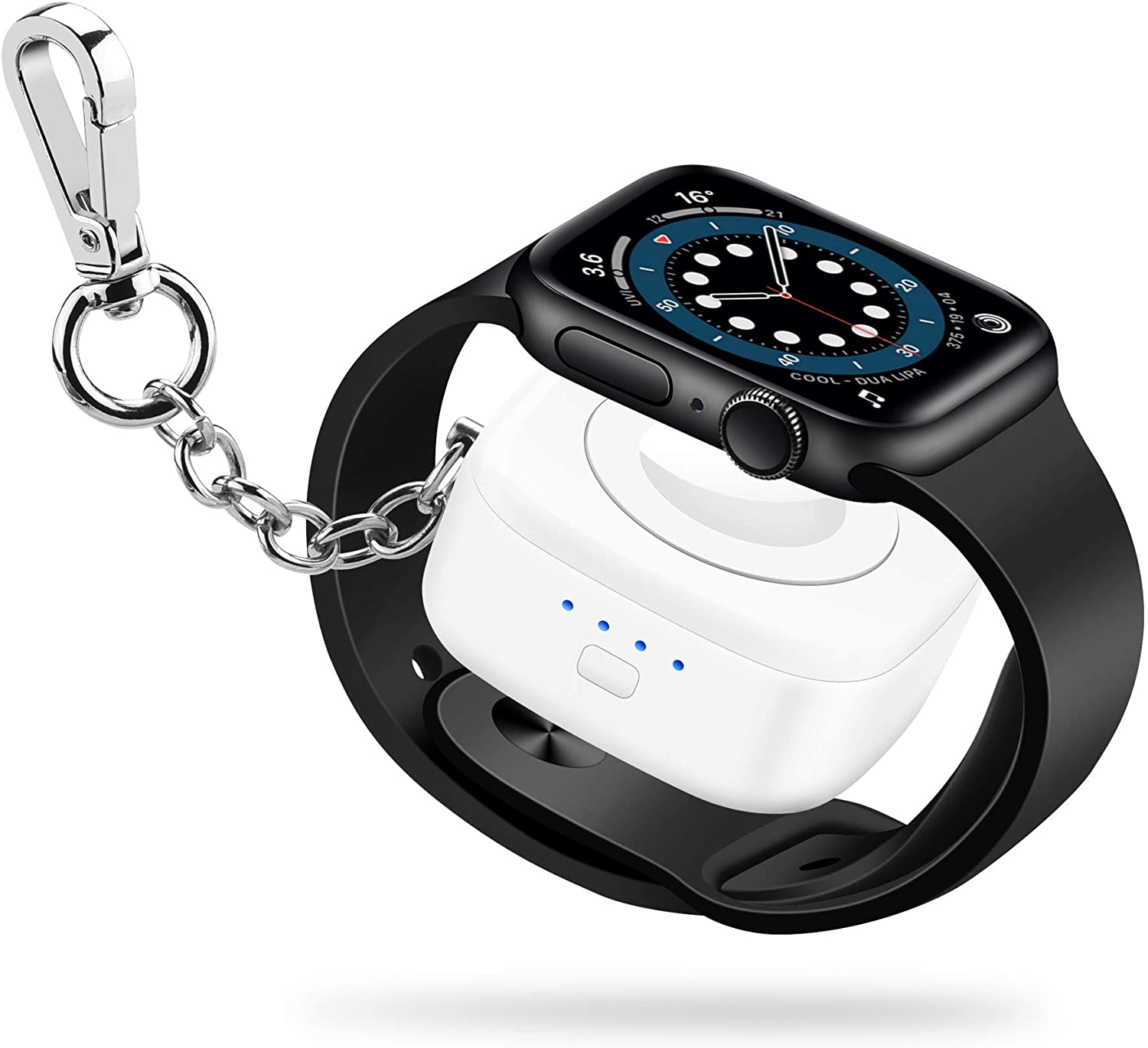 Portable-iWatch-Charger【Apple-MFi Certified】Apple-Watch-Wireless-Potable-Charger 1000mAh Apple-Watch-Power-Bank Keychain iWatch portable Apple-Watch-Charger Travel for Apple Watch SeriesSE/6/5/4/3/2/1