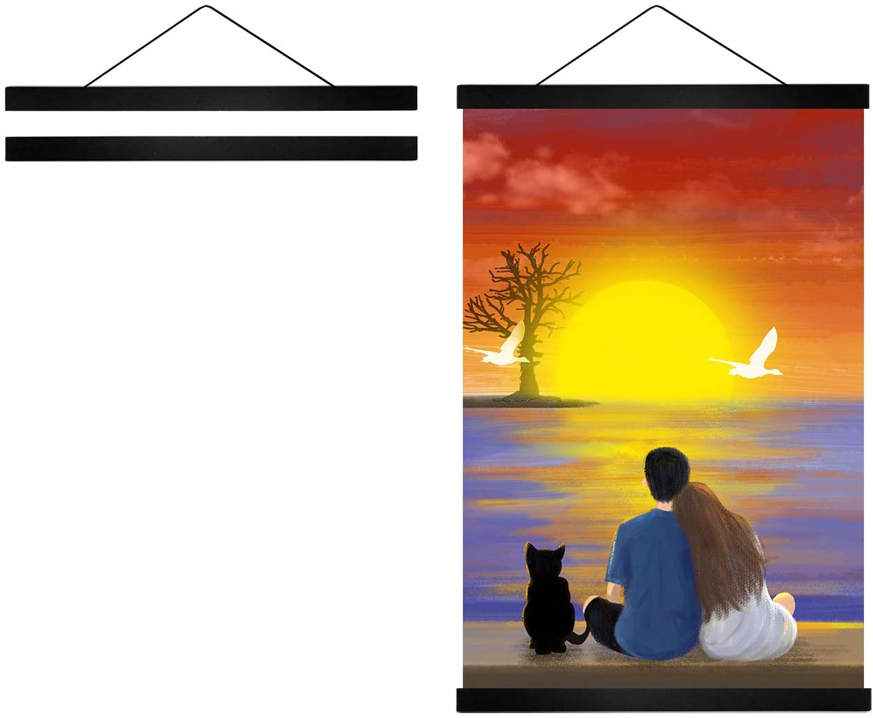 Radezon 8 inch Wide Magnetic Poster Hanger Frame, 8x10 8x20 8x11 Wood Frame for Posters, Prints, Photos, Pictures, Maps, Scrolls, and Artwork - Wall Hanging Wooden Frame