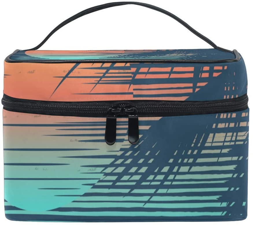 Makeup Bag Square Cosmetic Sunset On Tropical Beach Train Case Portable Travel Toiletry Bag Organizer Accessories Case Tools Case for Beauty Women