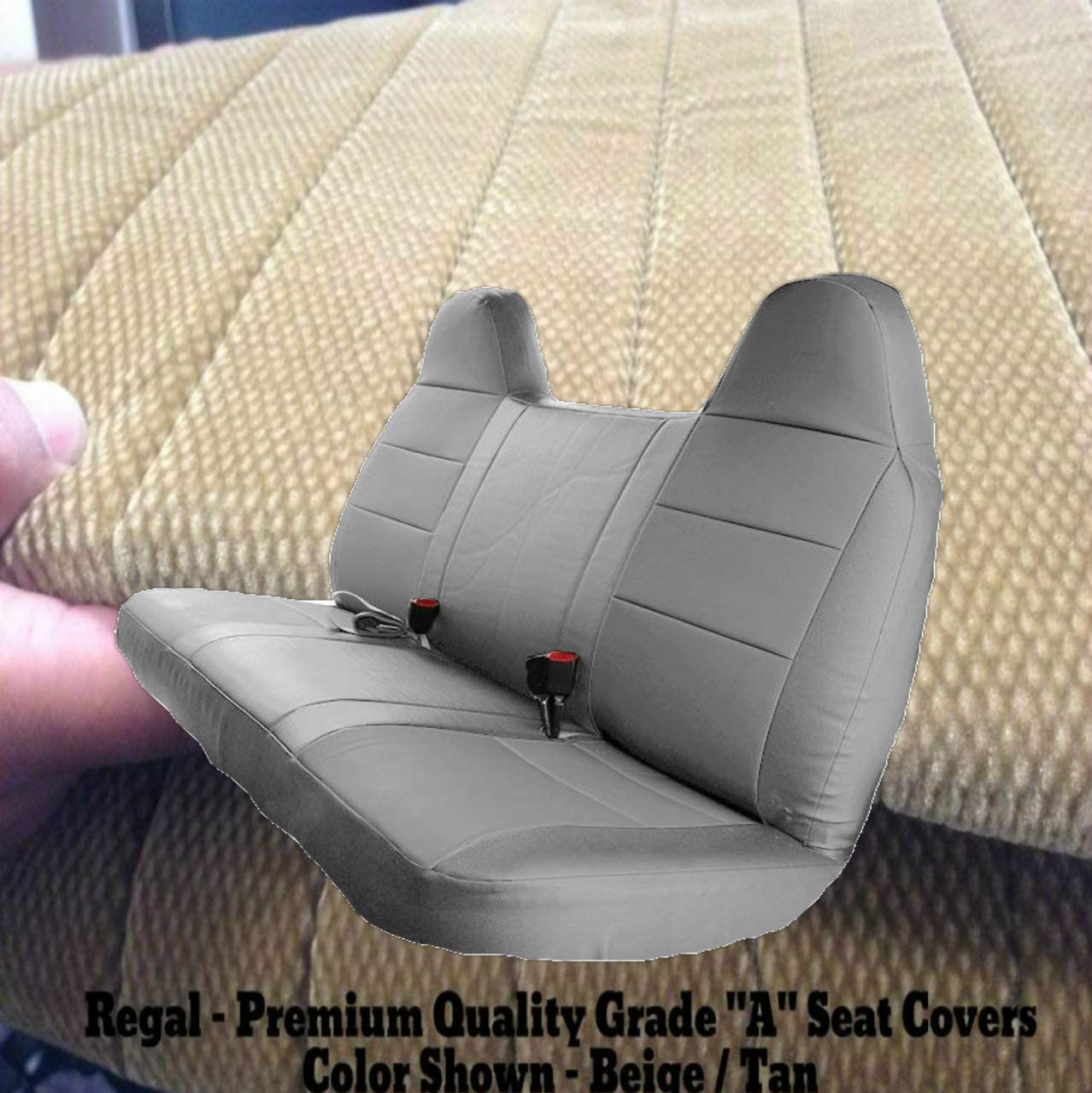 RealSeatCovers 3 Layer for 1992-2010 Ford F-Series F150 - F550 Pickup Truck Front Solid Bench 10mm Thick F23 High Back Belt Cut Out Custom Made Fit (Beige)
