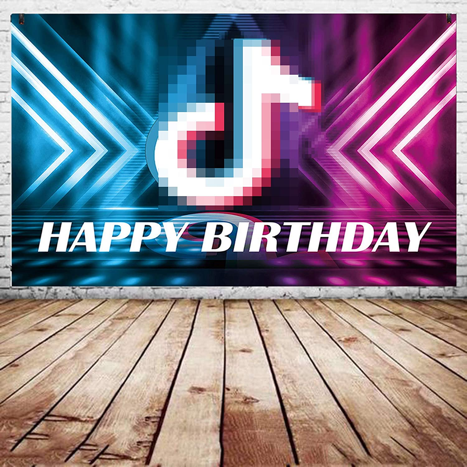 TIK Tok Birthday Party Banner Decorations - TIK Tok Backdrop and Music Theme Birthday Banner for Girl's Music Karaoke Themed Party Supplies (5 * 3ft)