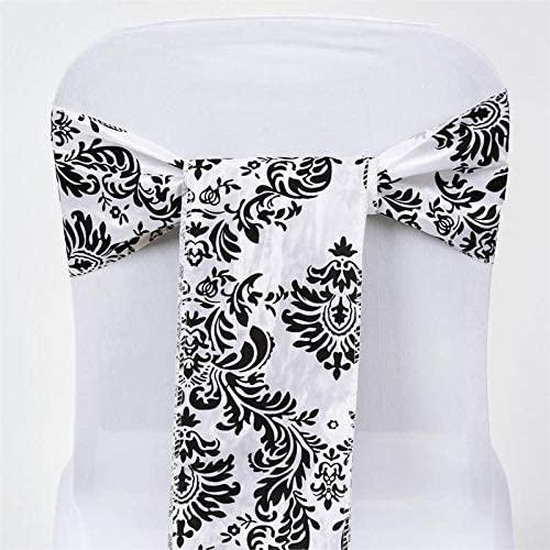 Efavormart 5pc x Damask Flocking Chair Sash for Wedding Events Banquet Decor Chair Bow Sash Party Decoration Supplies - Black