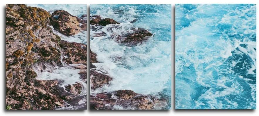 Baocicco 16x20 Inches 3 Pieces Coastline Rock Reef Roaring Waves Canvas Wall Art Painting for Living Room Hotel Holiday Inn KTV Gallery Cafe Club (No Frame) Interior House Wall Poster Decor