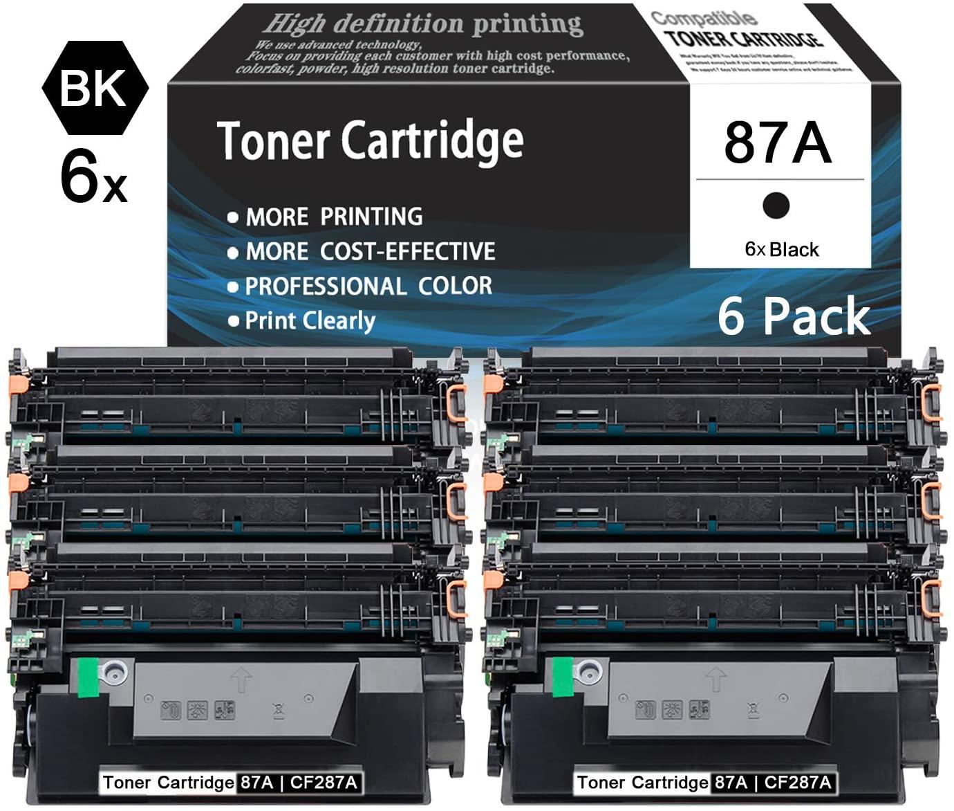 Black87A   CF287A 6-Pack TonerCartridgeCompatibleforHPPrinter M506xm M506n M506dn M501n M501dn M527dn M527f M527z M527c M506dnm Printers Toner Cartridge,Sold by AcToner.