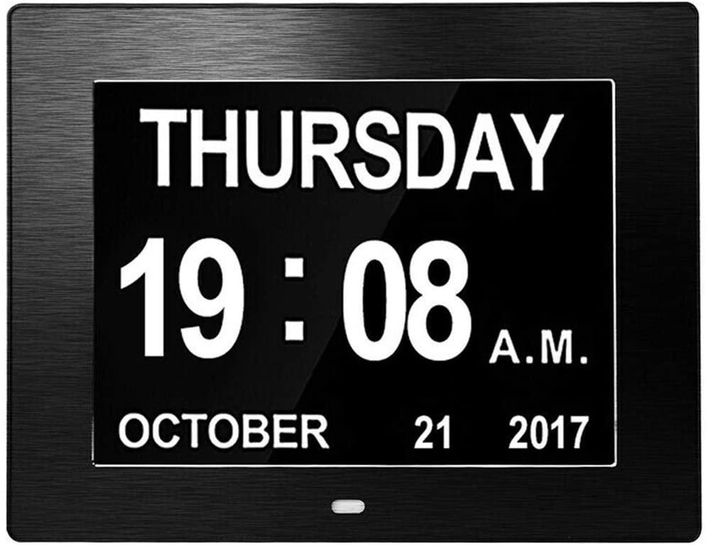 FAMKIT 2020 Version, Auto Brightness Adjustment 8inch Large Screen Digital Alarm Clock Calendar ClockHelps with Memory Loss, Alzheimers and Dementia (Black/US Plug)