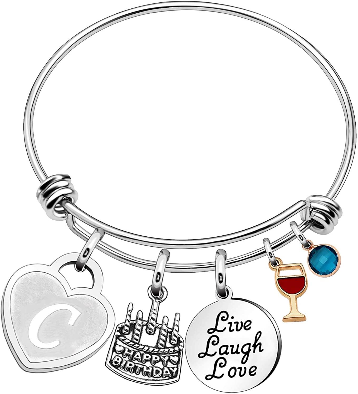 Personalized Name Birthday Jewelry Initial Charm Bracelets for Girls Friends Women Expandable Charm Bracelets