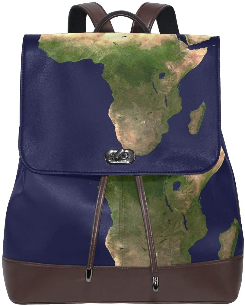 Leather Backpack Aerial View Continent Womens PU Bookbag School Purse Shoulder Bag