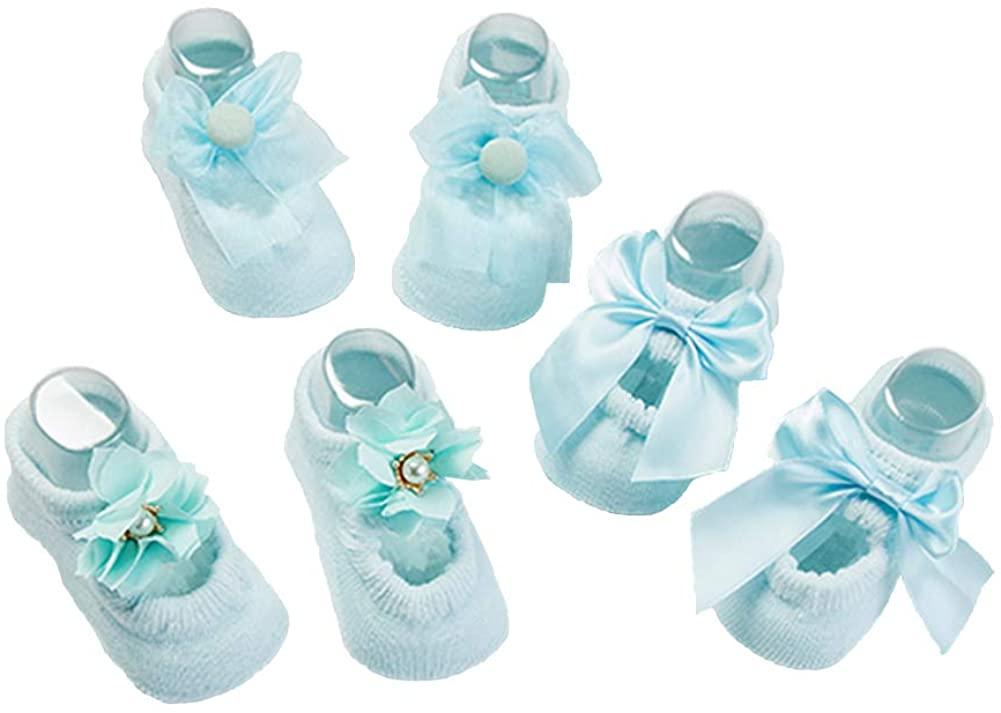 Baby Girls Socks Gift Set 3 Pair Shower Gifts Bowknot Pearl Flower Newborn Socks Funny Present Socks to Prevent Slip