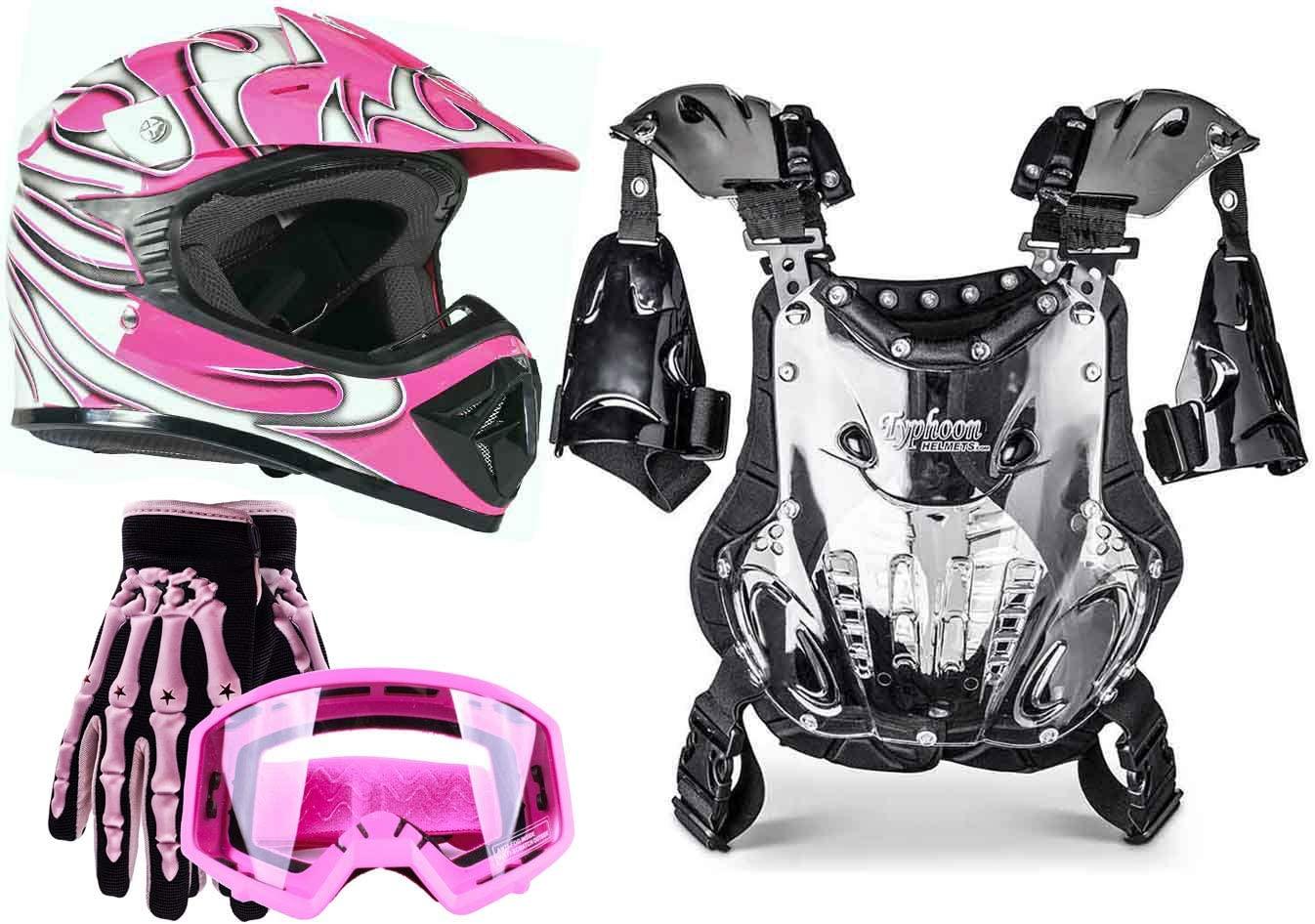 Typhoon Youth Girl's Motocross Helmet Gloves Goggles Chest Protector Combo ATV Dirt Bike MX - Pink (Medium)