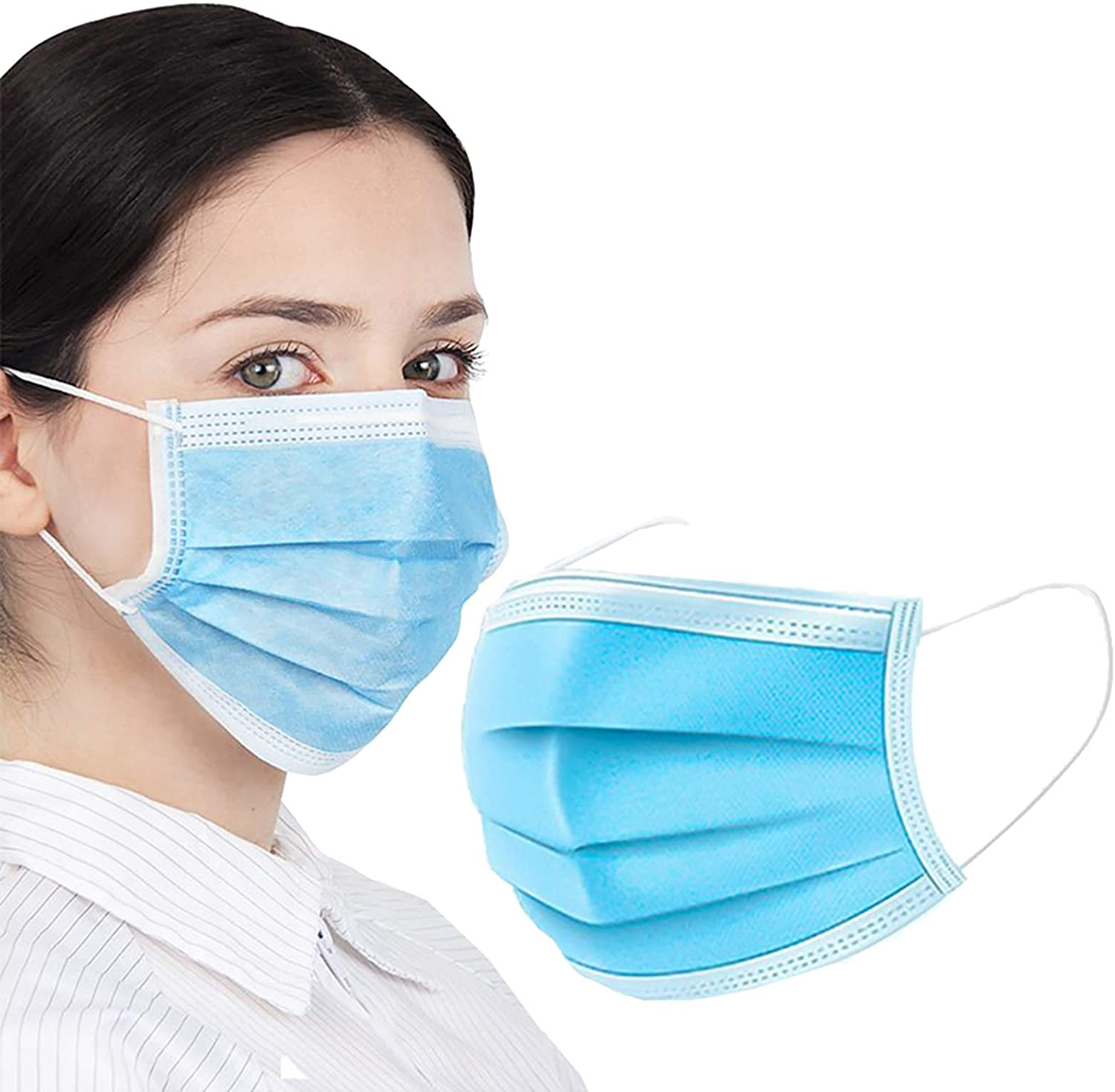 General Use Face Masks. Pack of 50 Blue Mouth and Nose Masks. Disposable 3-ply Mouth Covers. Face Guards with Adjustable Earloop for Outdoor, Home, Office. Unisex Dust Mask Adult.