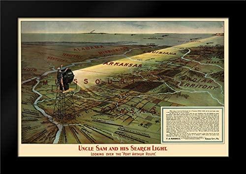 Hornbeck 24x17 Black Modern Framed Art Print Titled Port Arthur Route, Uncle Sam and Search Light 1896 Map