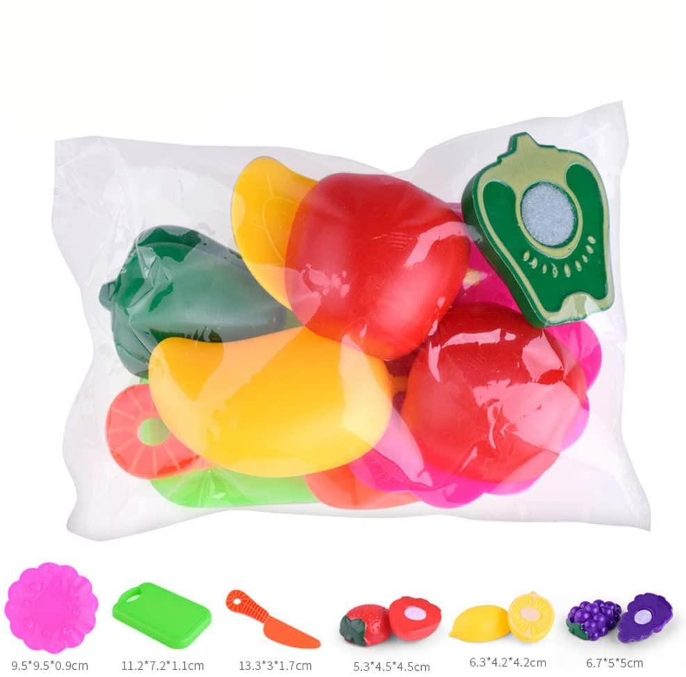 Wenini 1 Set Kitchen Fruit Vegetable Food Toy, Kids Pretend Role Play Kitchen Fruit Vegetable Food Toy Cutting Set Gift Toy (6 PCS)