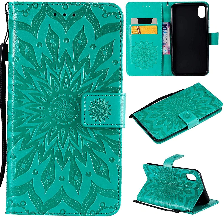 YIKATU iPhone XR Wallet Case,Leather Wallet Case Magnetic Case Credit Card Holder Slots Cover Case Wrist Strap Slim Flod Wallet Case for Women (Green)