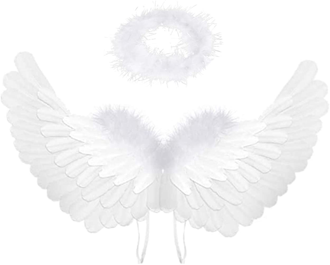 Angel Wings and Halo for Kids Angel Costume Adult Feather Wingsare Used for Important Festivals as Halloween, Christmas Eve and Christmas (White)
