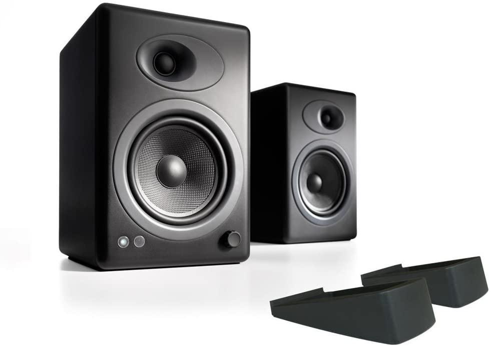 Audioengine A5+ Powered Desktop Speaker Bundle with DS2 Desktop Speaker Stands - (Pair) Black